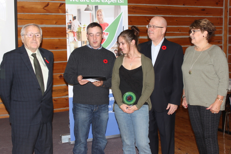 The Trail Blazer Award winners April Pratt and her husband Stuart from Augusta Farms with MPP Clark, Councillor Bill Buckler and Leeds Grenville Small Business Enterprise Centre Manager Wendy Onstein.